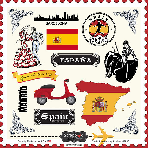 Spain Sightseeing Sticker Sheet