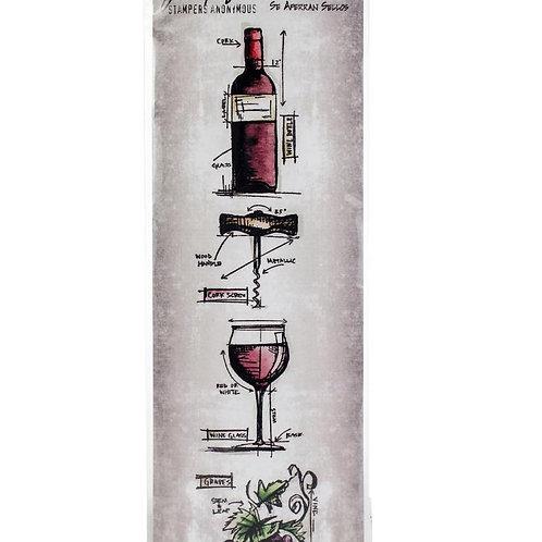 Tim Holtz Wine Mini Blueprints Stamp Set