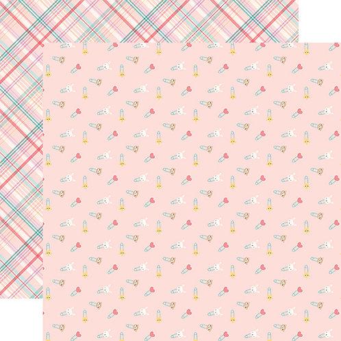 Hello Baby Girl Diaper Pins Cardstock