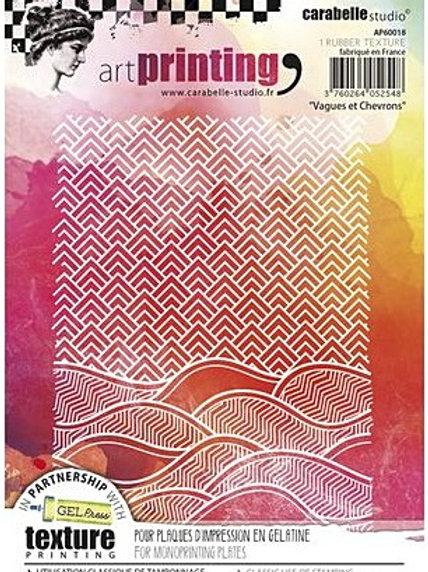 Art Printing A6 Rubber Texture Plate Vagues et Chevrons