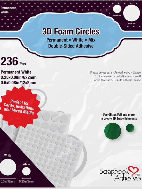 3D Foam Circles, White Mix