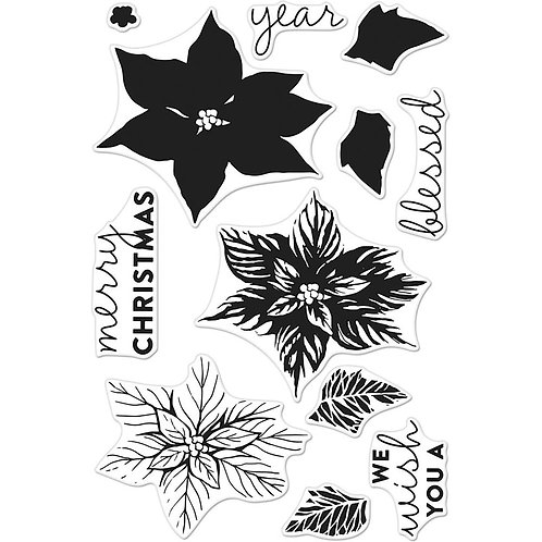 Color Layering Poinsettia Clear Stamp Set Hero Arts