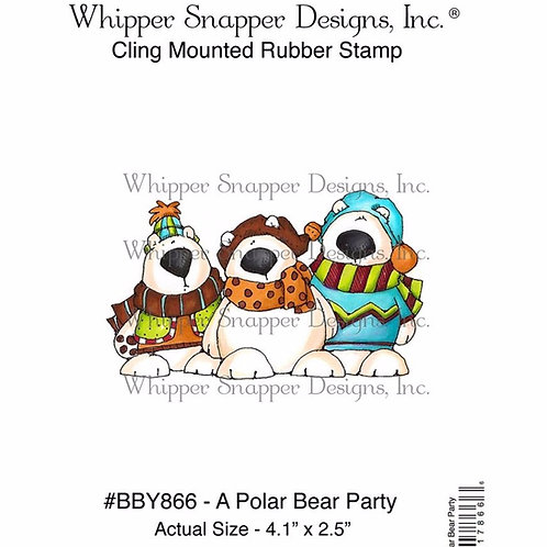 Polar Bear Party Cling Rubber Stamp