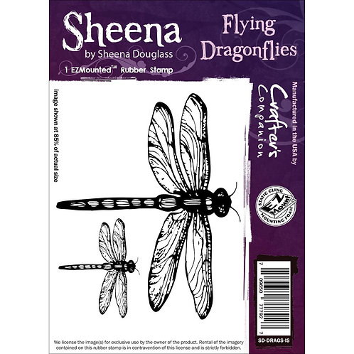 Flying Dragonflies Cling Rubber Stamp