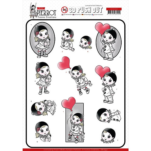 Petit Pierrot With Love 3D Punchout Sheets