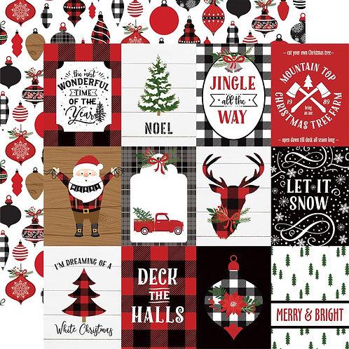 Lumberjack Christmas 3x4 Journaling Cards Cardstock