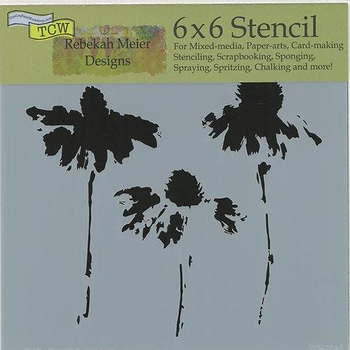 Mini Cone Flowers 6x6 Stencil