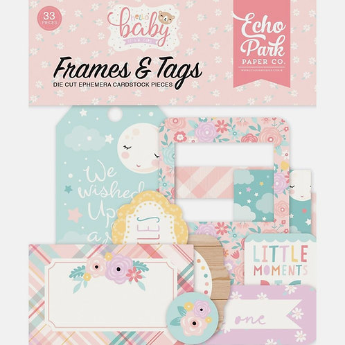 Hello Baby Girl Frames and Tags Ephemera Pack