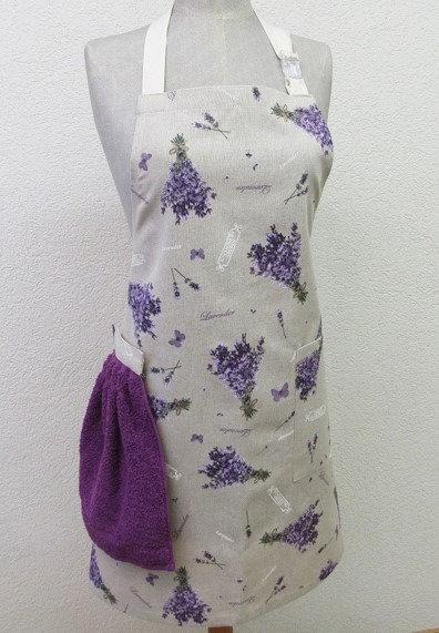 Küchenschürze mit abnehmbarem Handtuch Lavendel