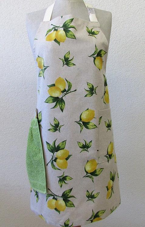 Küchenschürze mit abnehmbarem Handtuch Zitrone