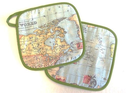 Topflappen Weltkarte