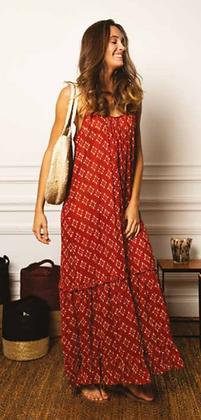 Robe voile de coton imprimé ikat