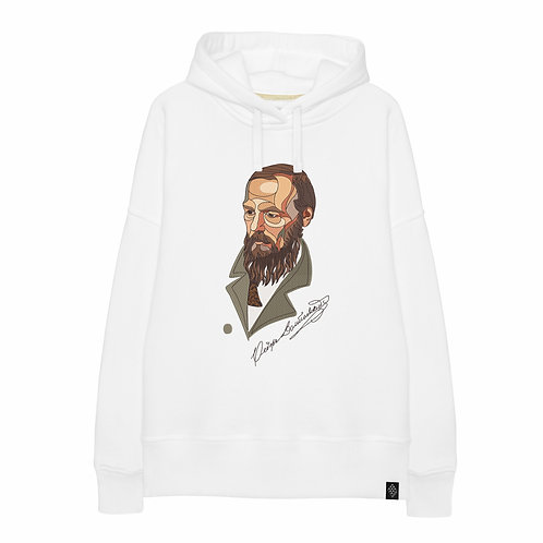 Худи оверсайз с вышитым портретом Ф.М. Достоевского