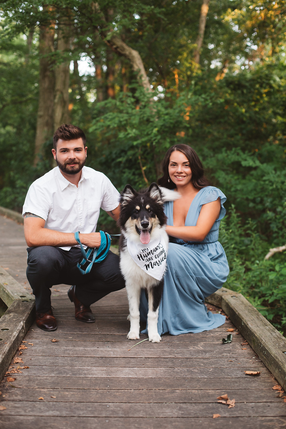 Couple Poses with Dog at Boundary Creek Park
