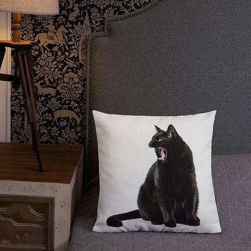 """Black Cat"" by Melissa Toledo - Premium Pillow"