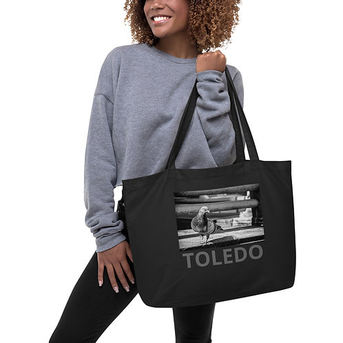 """""""City Pigeon"""" by Melissa Toledo - Large organic tote bag"""