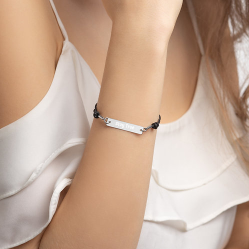 """Stay True"" Engraved Silver Bar String Bracelet"