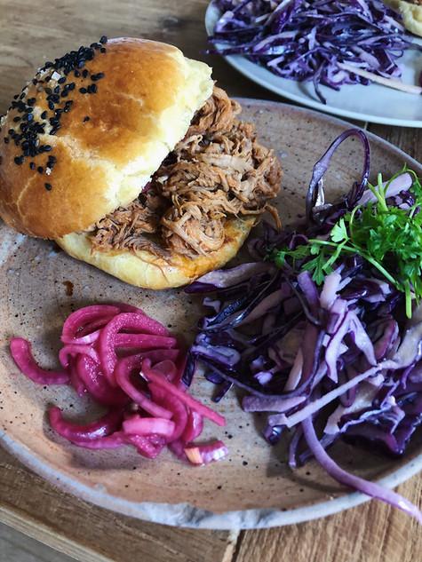 pulled pork, brioche, texas bbq sauce, franklin bbq, coleslaw, pickled onions