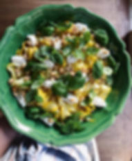 zucchini ribbons, salad, basil, fres cheese, vegetarian, roasted nuts, hazenuts