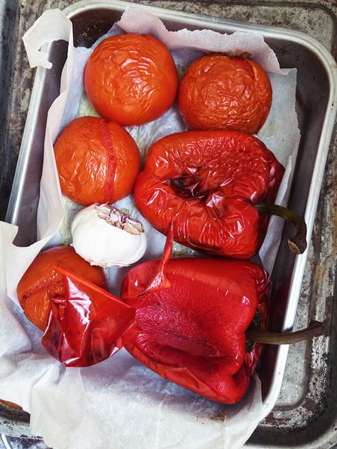 romesco, roasted vegetables, vegetarian, garlic, tomatoes