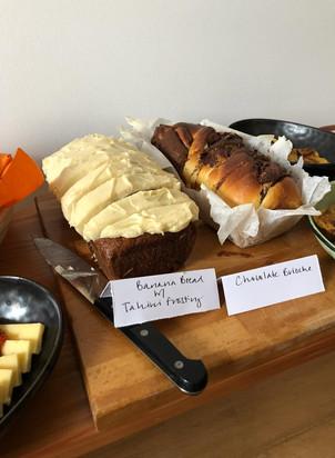 brunch, banana bread, nutella brioche