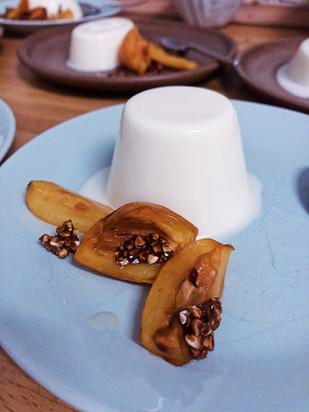 buttermilk panna cotta, loquats, nespole, brittle, buckwheat brittle