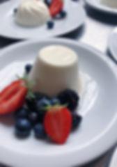 panna cotta, buttermilk, berries, jasmine syrup
