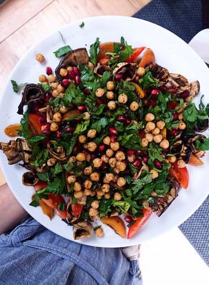 salad, chickpeas, roasted aubergine, roasted apricots, pomegranate syrup
