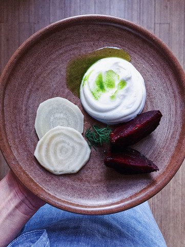 skyr, dill oil, roasted beetroot, pickled
