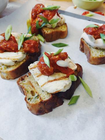 zucchini bread, loaf, courgette, chipotle mayo, tomato jam, halloumi
