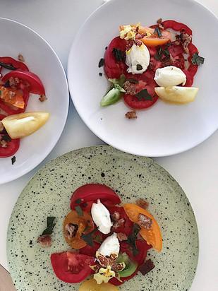 tomato salad, brown butter, kaffir lime leaf, whipped ricotta, butter, sourdough bread crumbs
