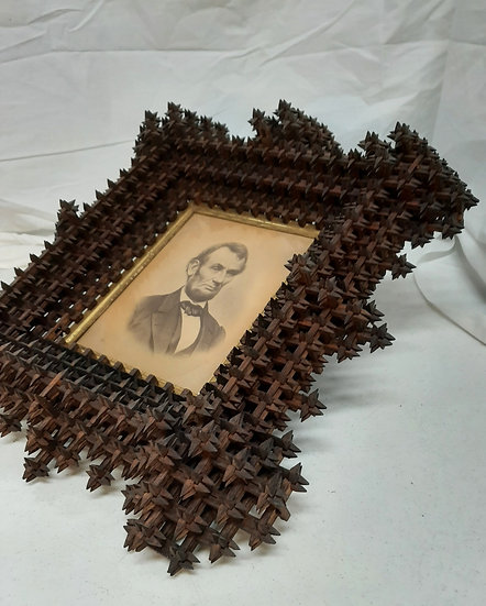 Vintage Crown of Thorns Frame with Lincoln Print