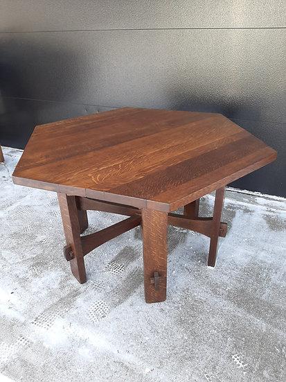 Gustav Stickley Stacked Stretcher Hex Table, #625