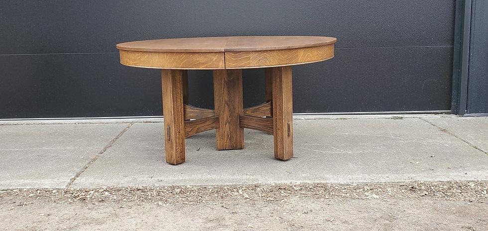"60"" Quarter-sawn top, trumpet stretcher table"