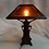 Thumbnail: SOLD       Oak Wooden Lamp with Slag Glass Shade