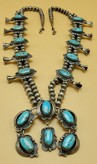 Navajo Squash Blossom Turquoise and Silver Necklace