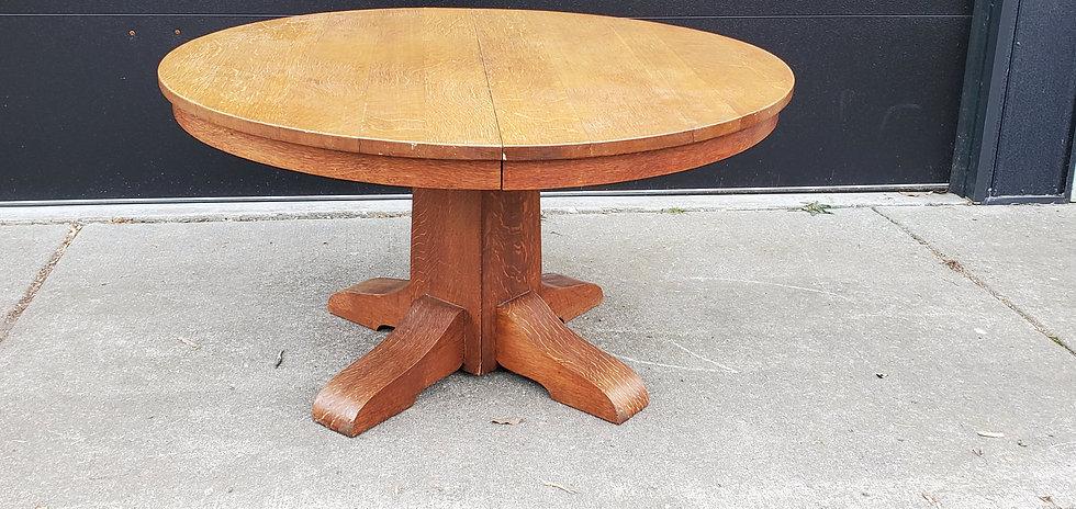 """Gustav Stickley 54"""" Table, 4 leaves, #656"""