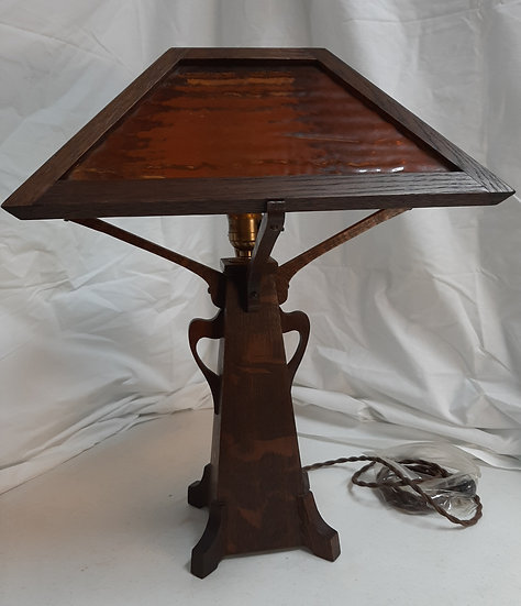 SOLD       Oak Wooden Lamp with Slag Glass Shade