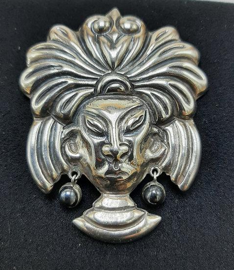 Sterling Silver Head Pin with Obsidian Earrings
