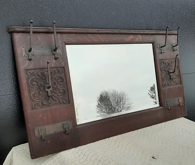 Original finish Hall Mirror with Original Hooks