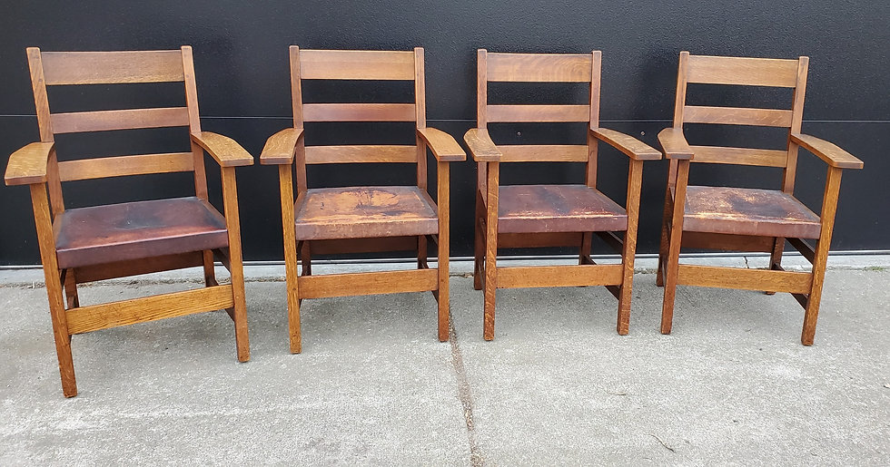 L&JG Stickley Dining Arm Chairs, Model 802