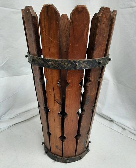 Fir and Hammered Metal Banded Waste Basket/Cane Holder