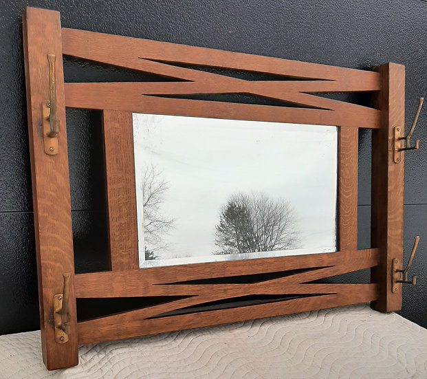 Entry way Mirror with Coat Hooks