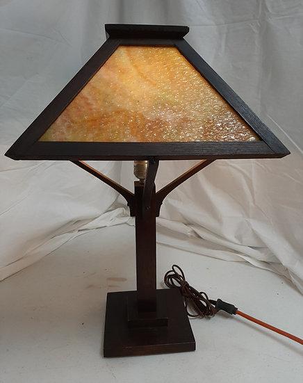 Oak table Lamp with caramel slag glass shade