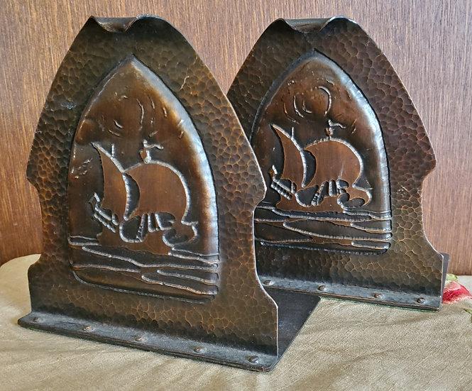 Copper Ship Bookends