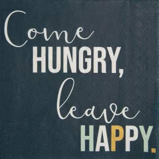 """RÄDER - Servietten """"Come hungry leave happy"""""""