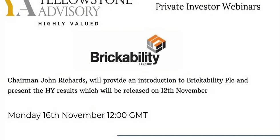 Brickability Plc: Introduction and HY results presentation