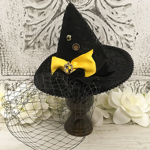 Badger Crest Veiled Mini Witch Hat