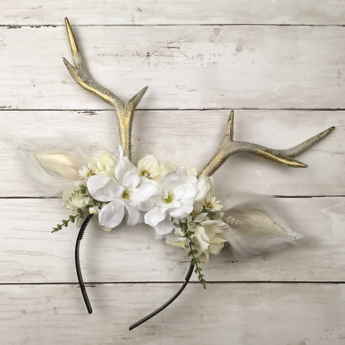 White and Gold Handmade Antler Headbands