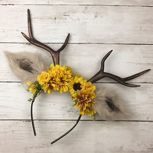 Autumnal Yellow Handmade Antler Headband